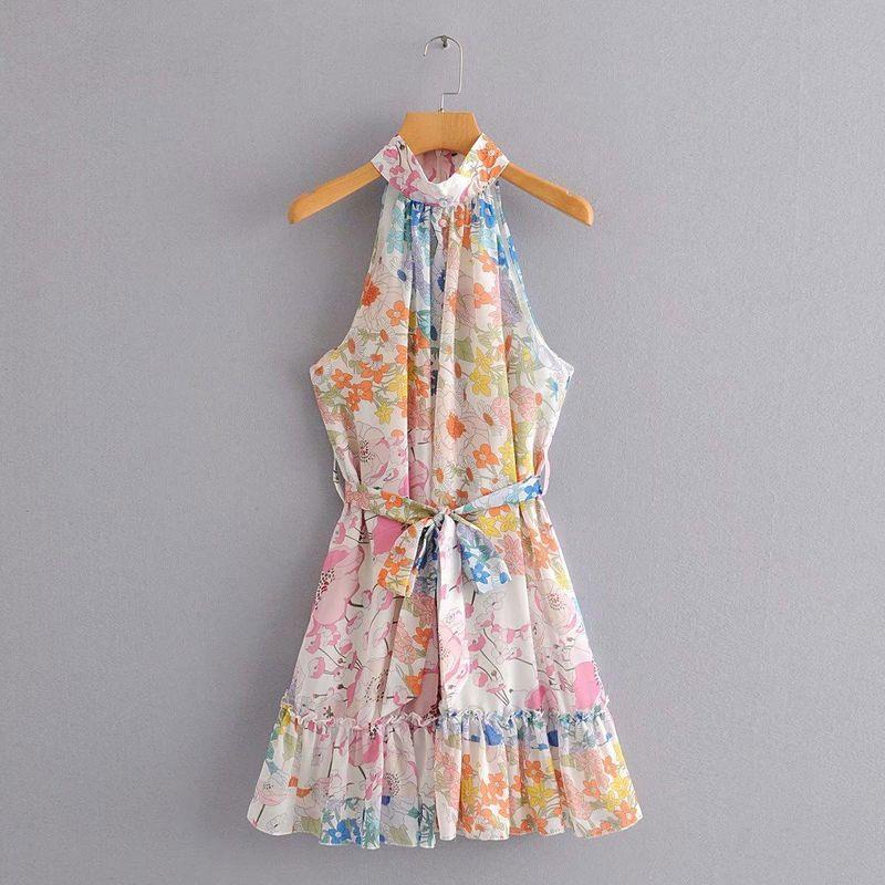 Wholesale new chiffon stitching printed sleeveless lace dress NHAM209431