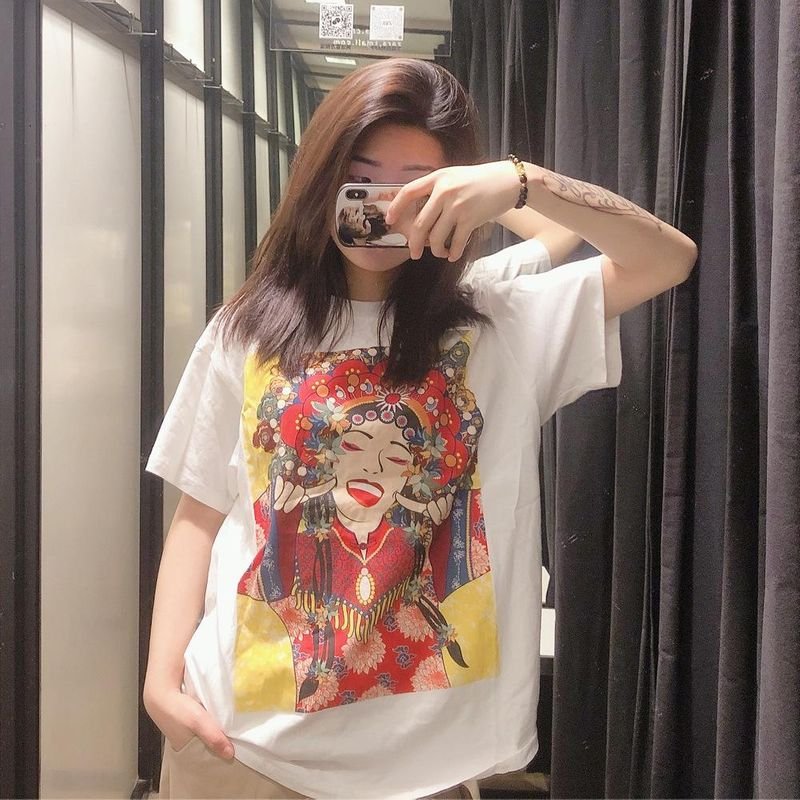 Wholesale spring new casual fun printed women's cotton T-shirt NHAM209435