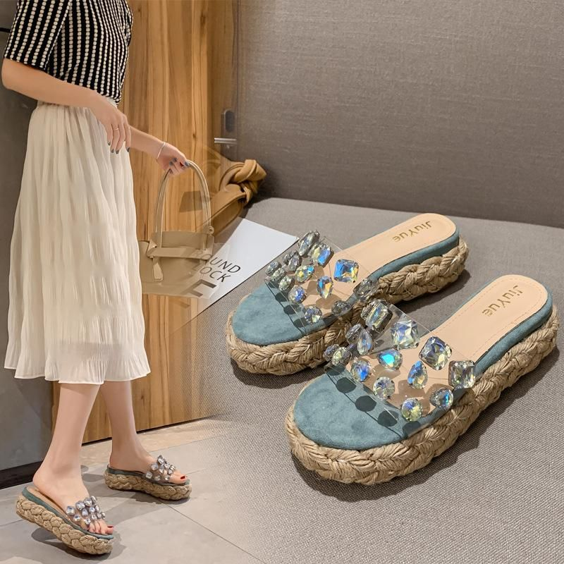 New fashion hemp rope wedge heel thick bottom rhinestone sandals and slippers wholesale NHHU209457