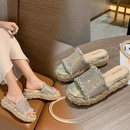Summer new style wedge heel hemp rope thick bottom rhinestone flip flops fashion sandals and slippers NHHU209458