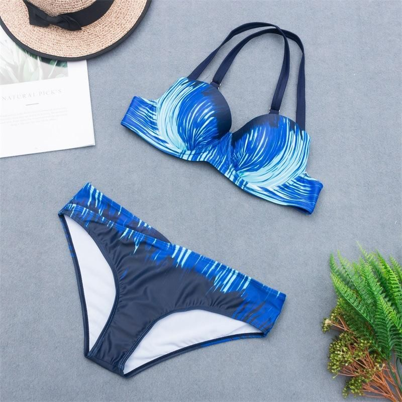 New printed large size bikini swimsuit triangle twopiece suit female split sexy swimsuit NHHL209464