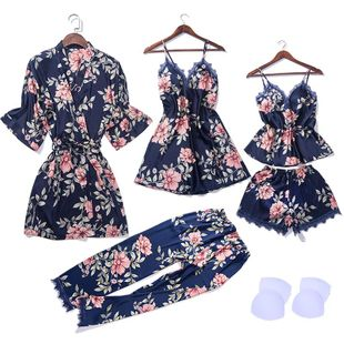 New fashion flower pajamas sexy sling skirt five-point sleeve nightgown with chest pad five-piece wholesale NHMR209503's discount tags