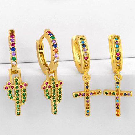Nouveau mode cactus croix boucles d'oreilles créatives diamant boucles d'oreilles en gros NHAS209594's discount tags