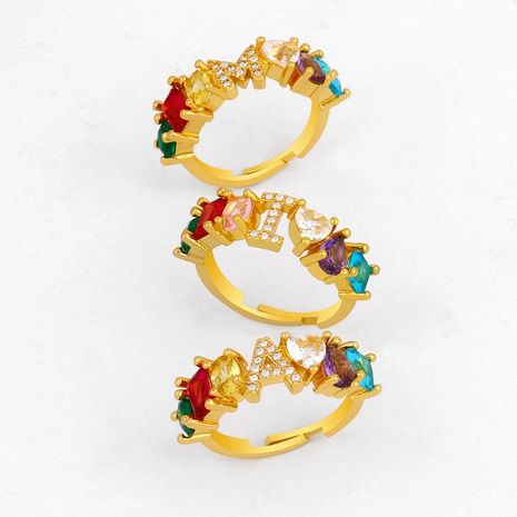 New Fashion Accessories 26 Letter Rings Diamond Diamond Couple Ring Wholesale NHAS209598's discount tags
