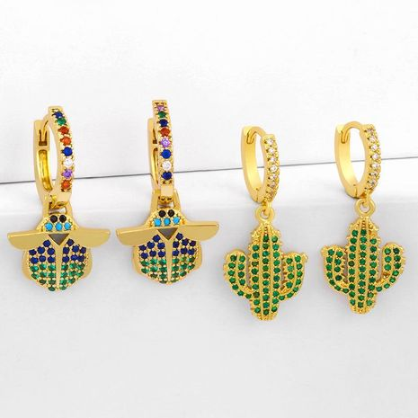 New cactus earrings with green zircon insect earrings wholesale NHAS209600's discount tags