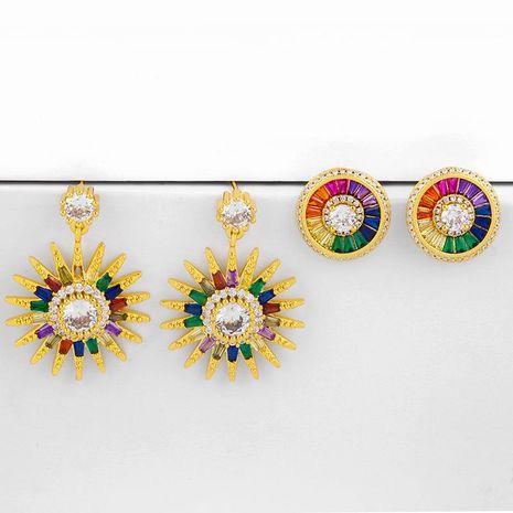 New Fashion Diamond Sunflower Earrings Bohemian Earrings Wholesale NHAS209613's discount tags