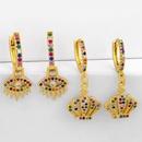 New Fashion Crown Earrings Diamond Rainbow Jewelry Hip Hop Earrings Wholesale NHAS209625