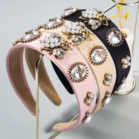 New fashion luxury bee inlaid rhinestone headband pearl headband baroque wide-edged cheap headband wholesale NHLN209631's discount tags