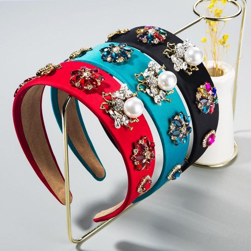 New fashion baroque retro animal bee shape inlaid pearl rhinestone cheap headband wholesale NHLN209632