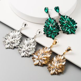 New fashion alloy inlaid rhinestone earrings super flash ice flower earrings wholesale NHLN209651's discount tags