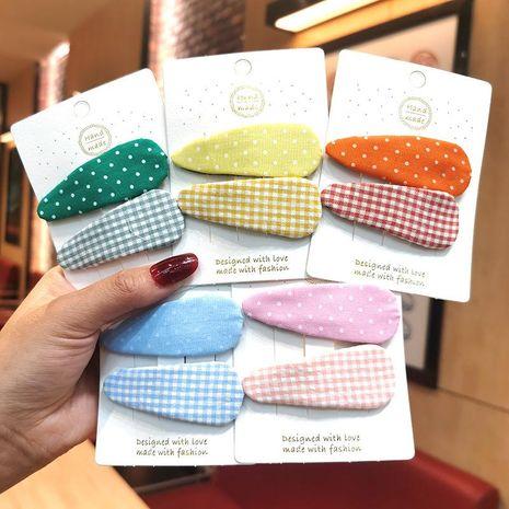 Corea jade de agua a cuadros pequeña gota BB clip tela traje de niña para niños Liuhai clip adorno para el cabello tocado clip para el cabello NHSA209670's discount tags