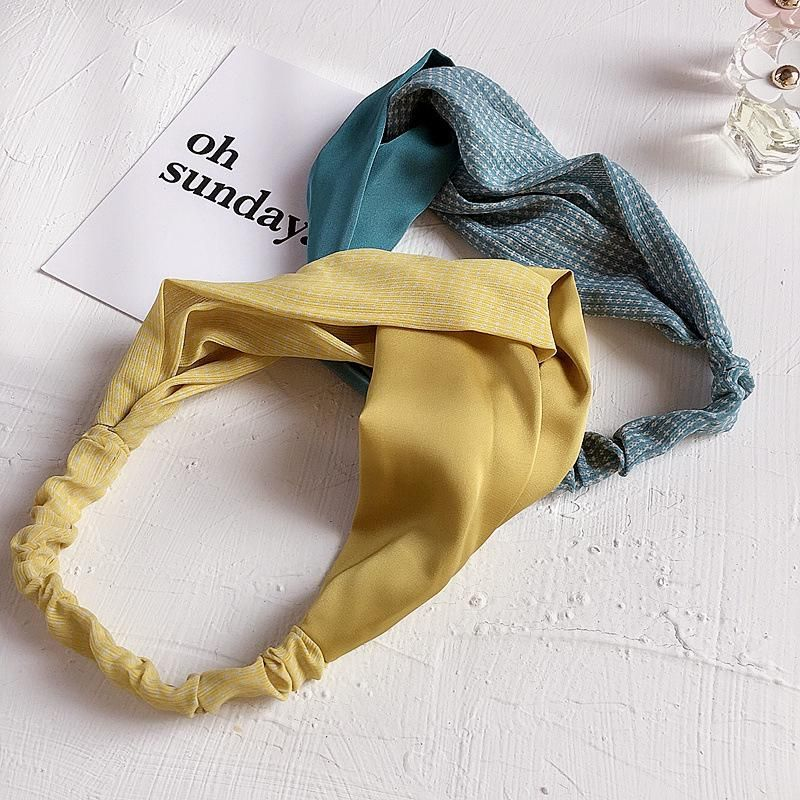 Korean new fashion chiffon stitching cross elastic simple cheap hairband wholesale NHHI209673