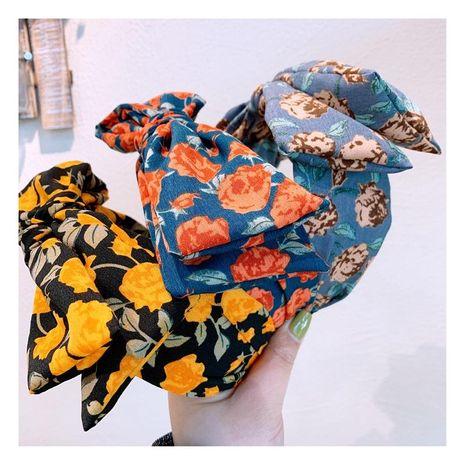Korea's new fashion retro French dark green jacquard fabric bow tie cheap headband wholesale NHHD209682's discount tags