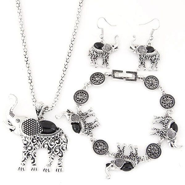 Fashion metal inlaid turquoise cute baby elephant necklace earrings bracelet set yiwu nihaojewelry wholesale NHSC210080