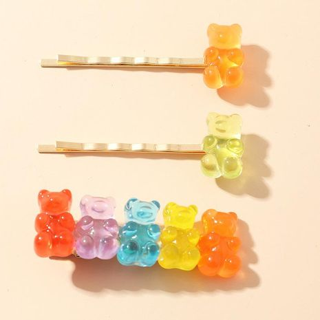 New Koo Bear Hairpin Candy Color Resin Cheap Hairpin Wholesale NHNZ209736's discount tags