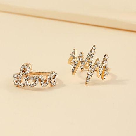 Le nouveau diamant complet électrocardiogramme bague lettre love2 ensembles d'anneaux en gros NHNZ209759's discount tags