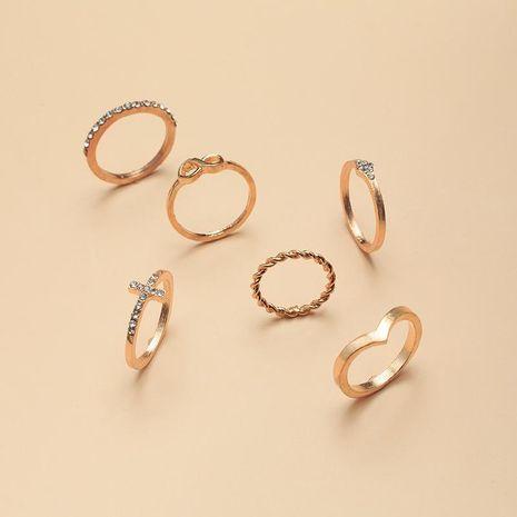 Nouvelle mode rétro mode croix bague anneau simple géométrique diamant ensemble 6 anneaux ensemble en gros NHNZ209765's discount tags