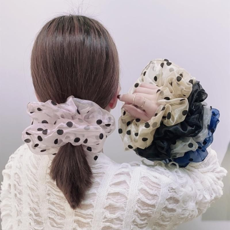 Korean new fashion lace mesh yarn wave point cheap scrunchies wholesale NHSM209782
