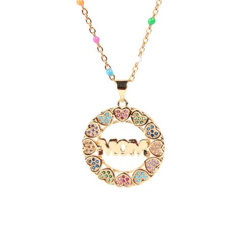 Mother's Day gift wholesale new love peach heart diamond necklace mom necklace NHPY209798's discount tags