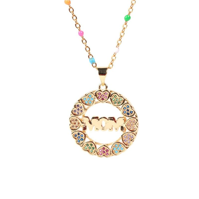 Mothers Day gift wholesale new love peach heart diamond necklace mom necklace NHPY209798