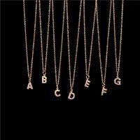 Nueva Moda 26 Alfabeto Inglés Colgante Collar Diamante Cadena de Clavícula Al Por Mayor NHPY209799