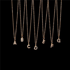 New Fashion 26 English Alphabet Pendant Necklace Diamond Clavicle Chain Wholesale NHPY209799