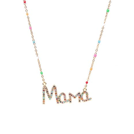 Mother's Day Gift Wholesale New Fashion Dripping Necklace with Diamond Mom Letter Necklace NHPY209808's discount tags