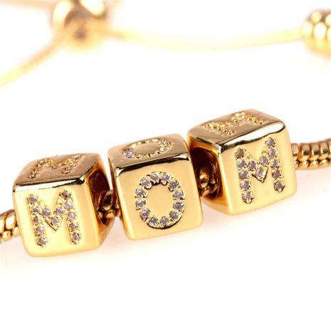 New fashion Rubik's cube large hole bead snake bone bracelet mother's day gift zircon bracelet wholesale NHPY209824's discount tags