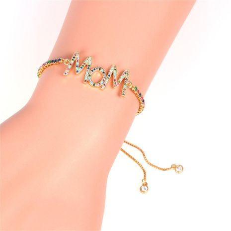 Mother's Day gift new fashion color zircon pull bracelet English alphabet MOM bracelet wholesale NHPY209831's discount tags