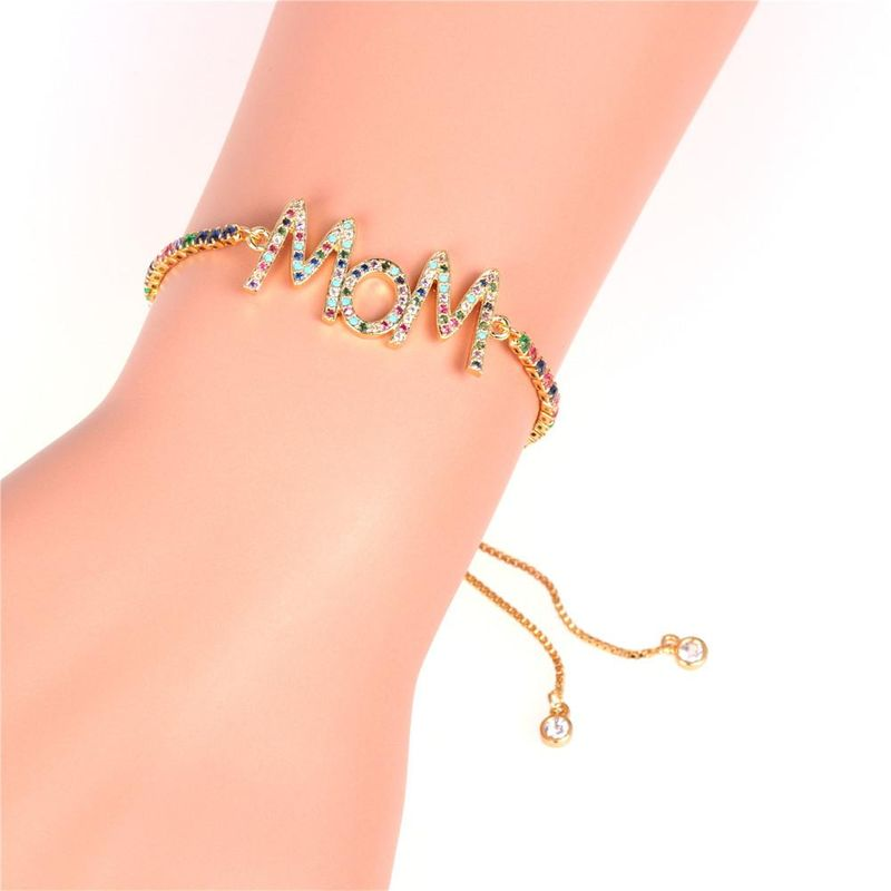 Mother39s Day gift new fashion color zircon pull bracelet English alphabet MOM bracelet wholesale NHPY209831