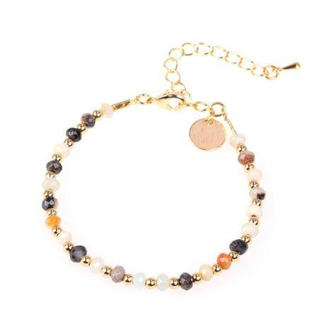 Nouvelle mode pierre naturelle couleur mélangée bracelet en perles plaqué cuivre véritable chaîne en or en gros NHPY209850's discount tags