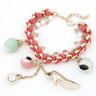 Moda coreana dulce caramelo perla pulsera de doble capa yiwu nihaojewelry al por mayor NHSC210072's discount tags
