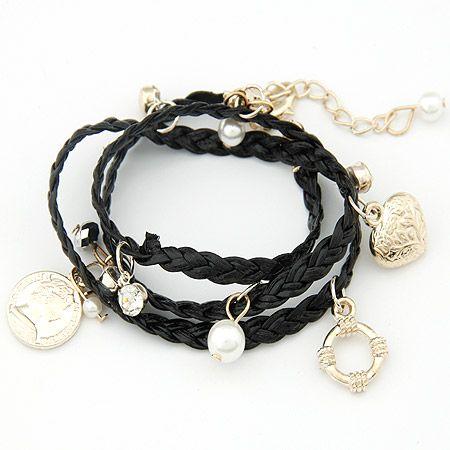Mode coréenne flash diamant perle pêche coeur pièce multi-élément pendentif enroulement bracelet multicouche yiwu nihaojewelry en gros NHSC210069's discount tags