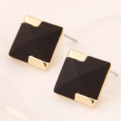 Korean fashion sweet OL metal black square earrings yiwu nihaojewelry wholesale NHSC210063