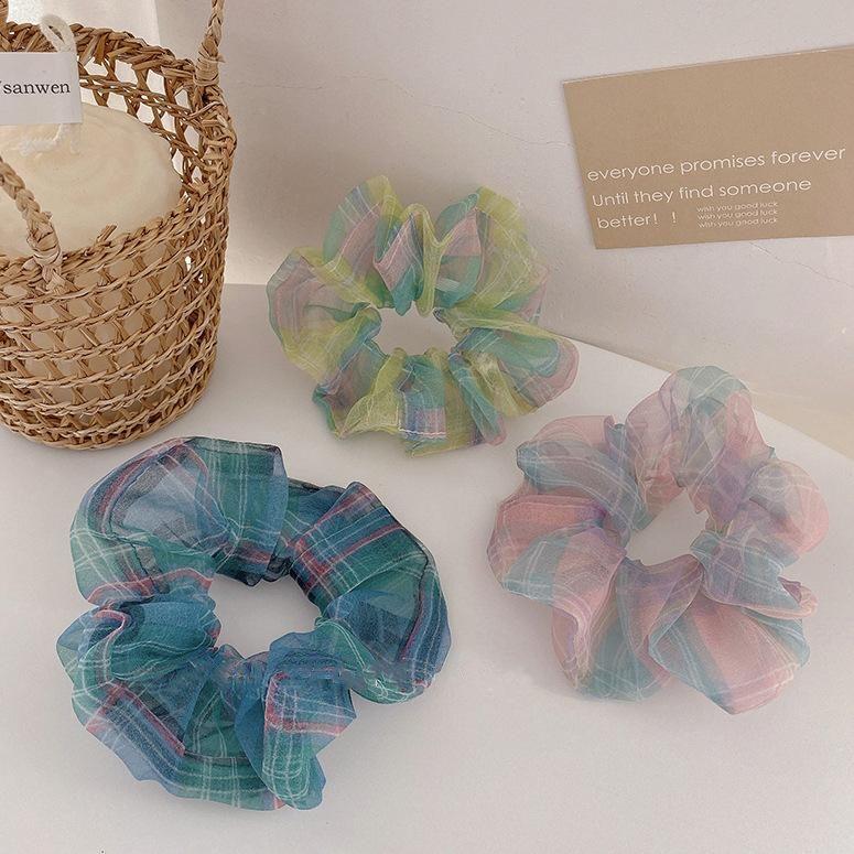 New fashion sweet color mesh cheap scrunchies wholesale NHOF209728