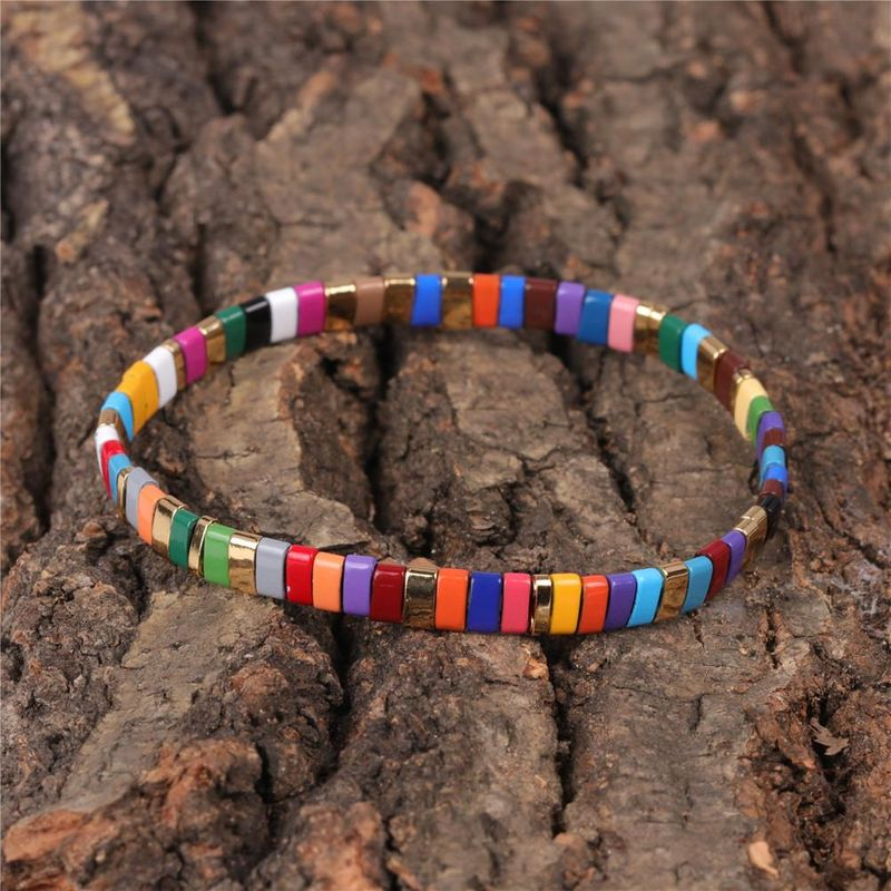 New fashion color mix and match paint elastic bracelet men and women jewelry wholesale NHPY209833