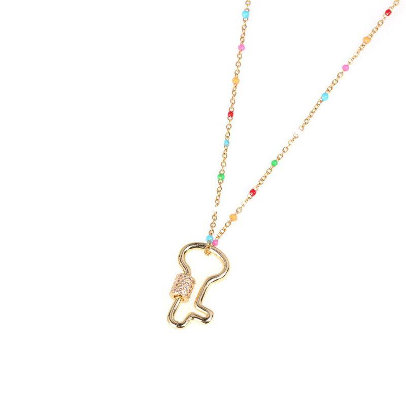 New fashion diamond key necklace micro-set zircon short necklace wholesale NHPY209807