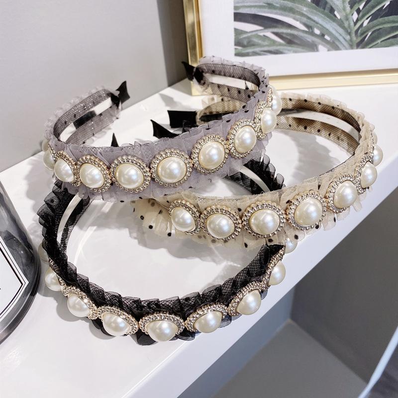 Korean new fashion simple wave wave point pleated pearl fine-edged cheap headband wholesale NHSM209778
