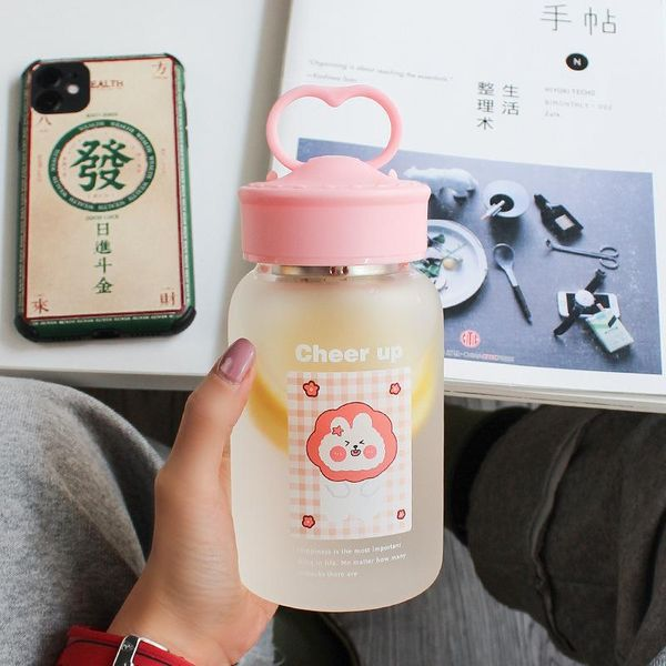 Simple frosted glass cup water cup portable tea compartment mobile phone holder cute creative cup NHtn209960