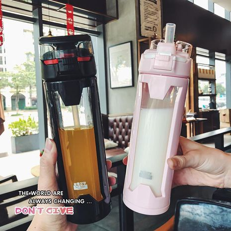 Simple straw cup double-layer insulation business glass portable high temperature resistant water cup NHtn209968's discount tags