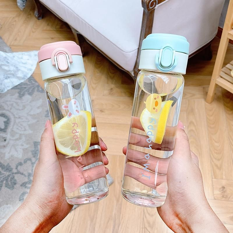 New fashion cartoon animal letters printed glass water cup portable handle carry cup sports take-out cover glass water cup NHtn209974