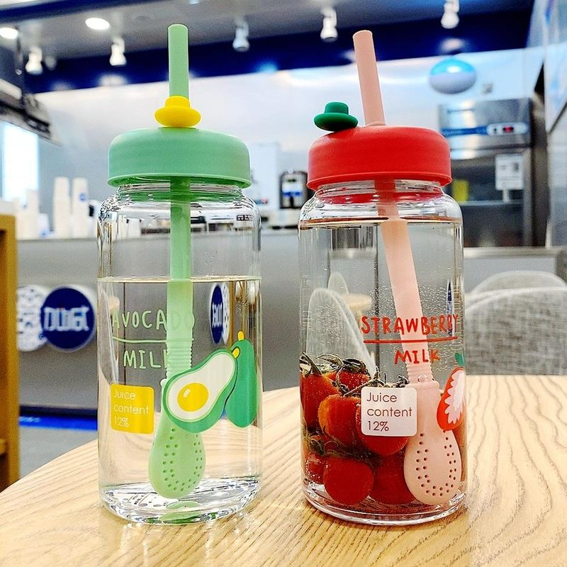 New fashion cartoon fruit printed glass drinking cup portable straw drinking cup NHtn209976