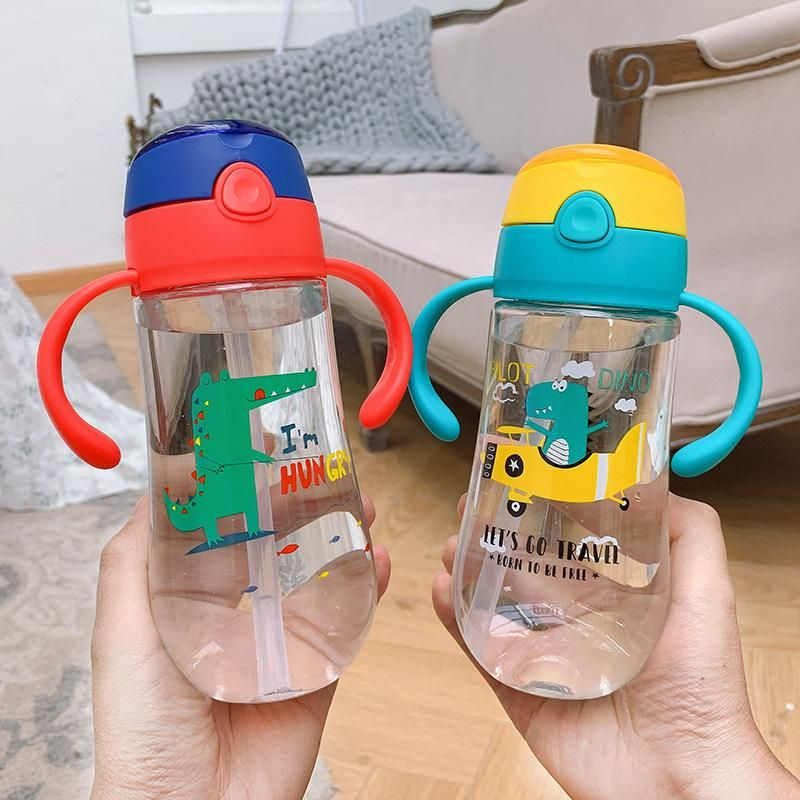 Cute little dinosaur print handle strap children's water bottle heat-resistant anti-choke child straw portable cup NHtn209980