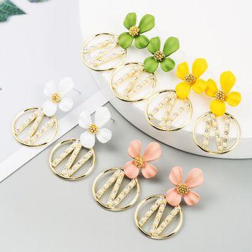 Korean new fashion alloy inlaid rhinestone pearl flower earring wholesale NHLN209989