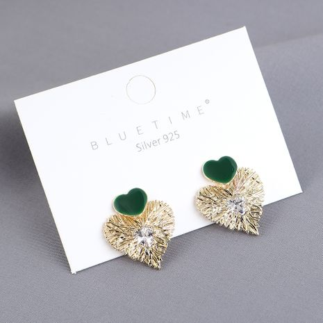 Nouveau véritable plaqué or simple mode amour zircon S925 argent aiguille boucles d'oreilles yiwu nihaojewelry gros NHPS209997's discount tags