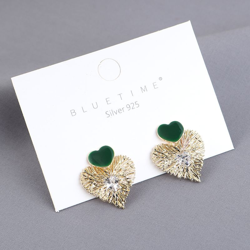 New genuine goldplated simple fashion love zircon S925 silver needle earrings yiwu nihaojewelry wholesale NHPS209997