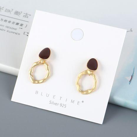 Nouvelle mode sauvage simple peinture creuse huile S925 argent aiguille boucles d'oreilles yiwu nihaojewelry gros NHPS210006's discount tags