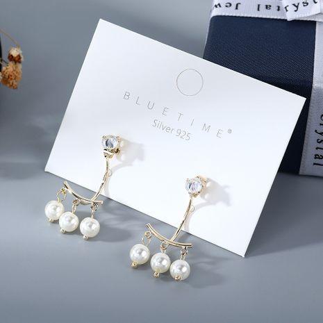 Coréenne nouvelle mode rétro simple perle zircon S925 argent aiguille boucles d'oreilles yiwu nihaojewelry gros NHPS210013's discount tags