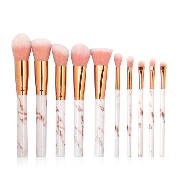 Moda 10 conjunto de pinceles de maquillaje marmoleado cepillo de ojos herramientas de belleza al por mayor nihaojewelry NHDJ210042
