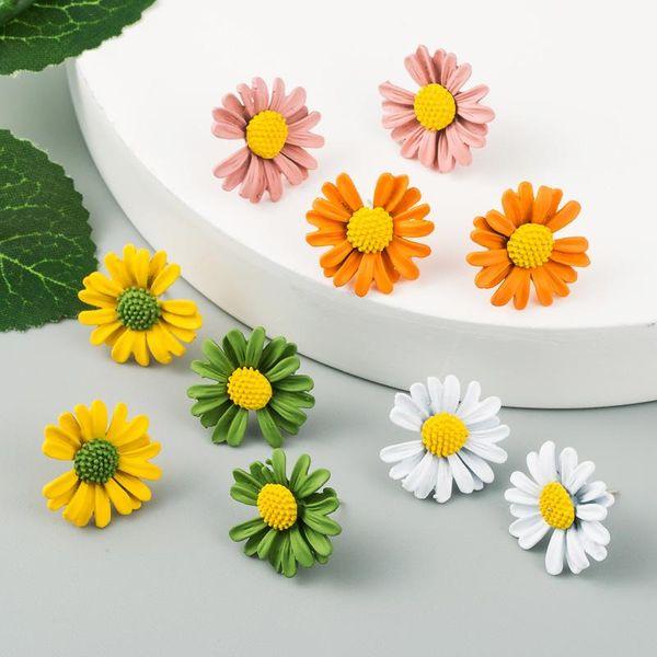 Korean new earrings alloy paint small daisy delicate earrings female S925 silver needle hypoallergenic earrings NHLN210182